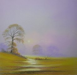 Autumn Afternoon By Graham Cox- 30cm x 30cm square framed double mounted - £75.00