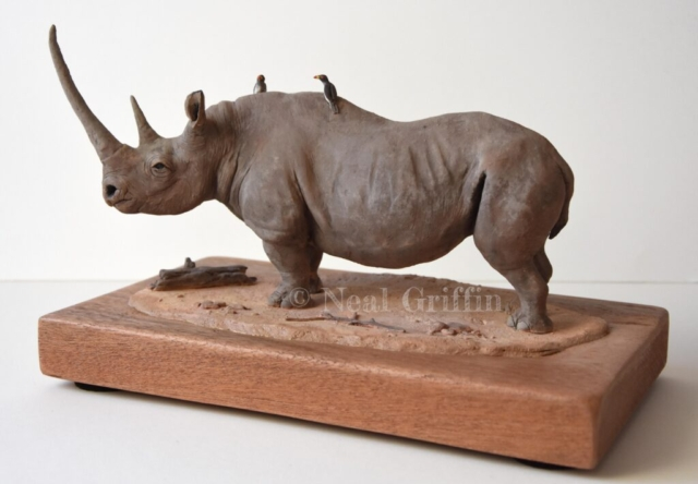 'Black Rhino' By Neal Griffin - ceramic - 27cm x 16cm x 18cm - £395