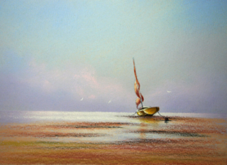 Single red sail By Graham Cox - 30cm x 30cm square framed and double mounted - £75.00