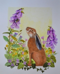 """'The Hare & the Bumblebee' By Julie Weir - watercolour - £195 -16"""" x 20"""""""