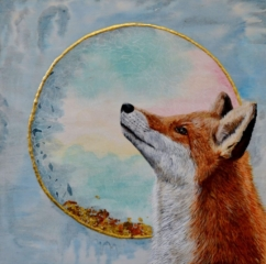"""'The Foxes Wish' - Acrylic ink & watercolour - £250 -16"""" x 16"""""""