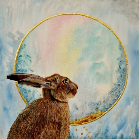 "'The Hare's Stare' By Julie Weir - Acrylic ink & watercolour - £250 - 16"" x 16"""