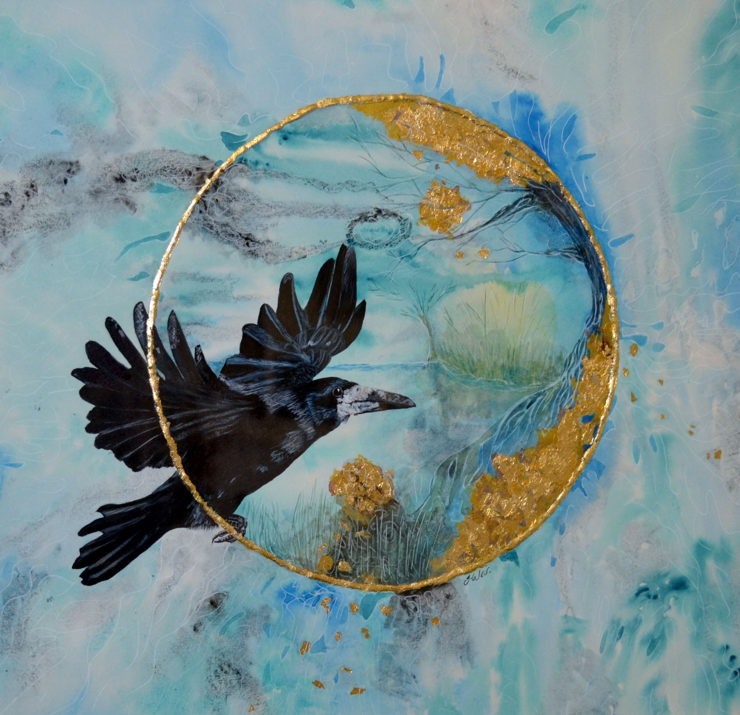"'The Flight of the Rook' By Julie Weir - Acrylic ink & watercolour - £250 - 23"" x 23"""