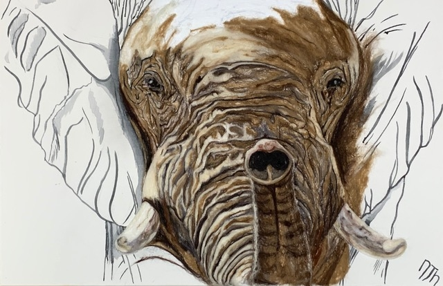 African Elephant By Nicky Heard - Merino Wool and Ink on Canvas. 75x50cm £550