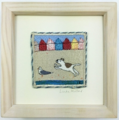 Beach hut Chase By Linda Miller - Machine Embroidery - framed - 19cm x 19cm - £95
