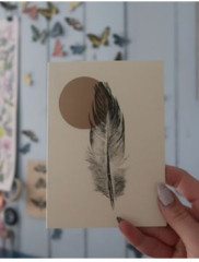 Golden Feather By Georgia de Buriatte (Unframed) Monoprint of seagull feather and Lino carving - A6 - £10