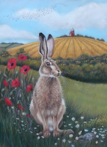 """""""Hare at Halnaker"""" By Kerry Vaughan Unframed Limited edition giclee print of 50. Fits frame 1""""Hare at Halnaker"""" By Kerry Vaughan Unframed Limited edition giclee print of 50. Fits frame 11"""" x14"""". £40 plus p&p1"""" x14"""". £40 plus p&p"""