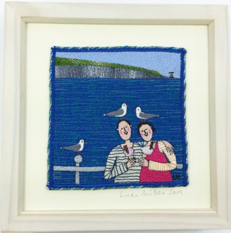 Icecreams and Seaside Gulls By Linda Millar - Machine Embroidery - Frame 25cm x 25cm - £290