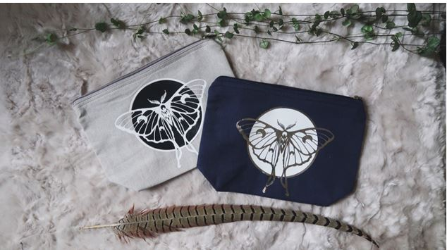 Luna Moth Zip Pouch By Georgia de Buriatte - Scanned lino carving, in vinyl on cotton zip pouch - 24x17cm - £9.50