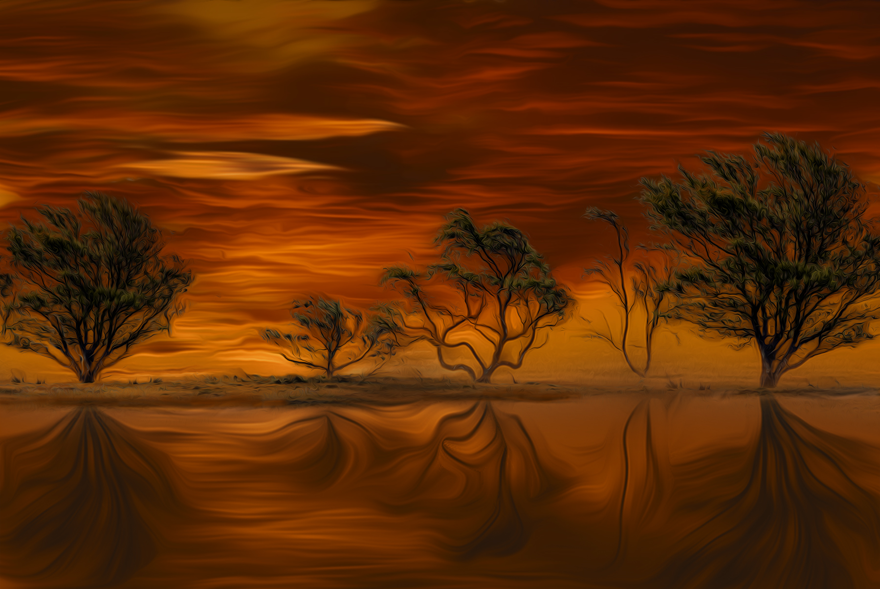 Orange Sunset By Martin Raskovsky - Digitally Manipulated Photography - (Various Sizes & Prices)