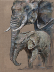 Protective Mother By Helen Rawlings - Framed Original Acrylic on Canvas - 24''x32'' £950 Available as a framed canvas print (also 24 x 32) £135