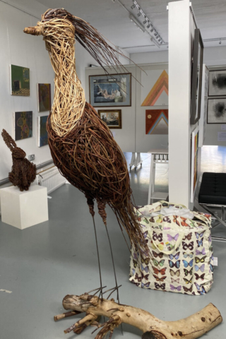 Fantasy bird by Jacqueline Rolls Willow Sculpture 80w x 160h (+30cm metal spike) - £380