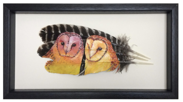 "In The Summer Evening Glow By Mandi Baykaa-Murray (Barn Owls on Turkey Feathers) - 10"" x 19"" - £395"