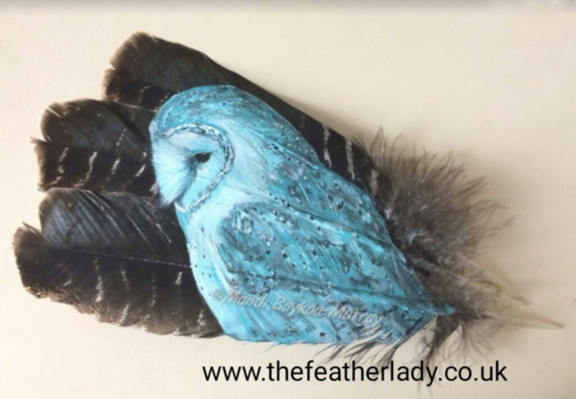"Moonlit Owl By Mandi Baykaa-Murray (Barn Owl on Turkey Feathers) - 11"" x 15"" - £395"