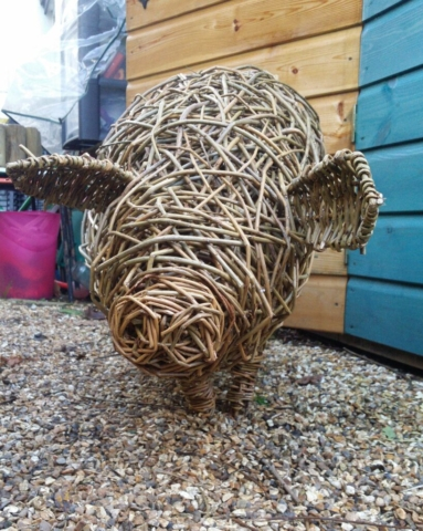 Pig by Jacqueline Rolls - Willow Sculpture - 32w x 60h x 105cm - £340
