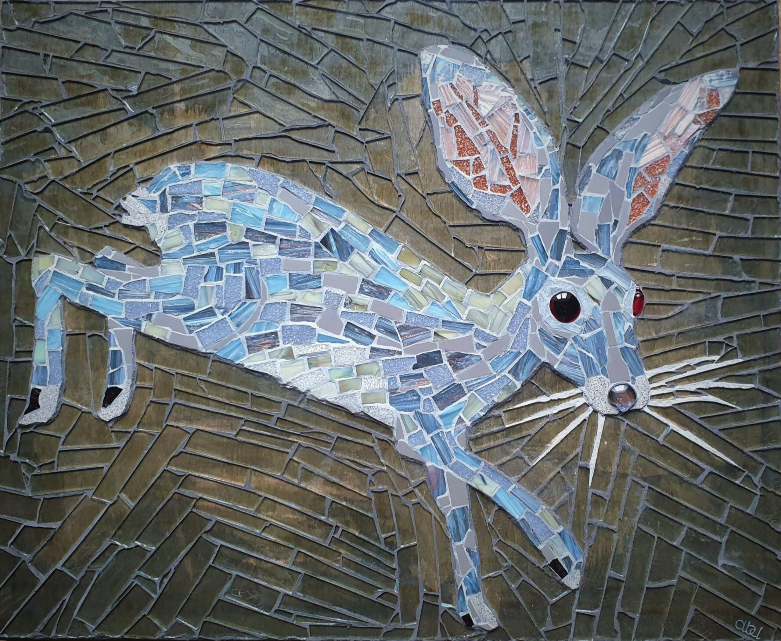 Riverine Rabbit – mosaic in glass and ceramic by Emma Abel, 45x37cm, £333 + p&p