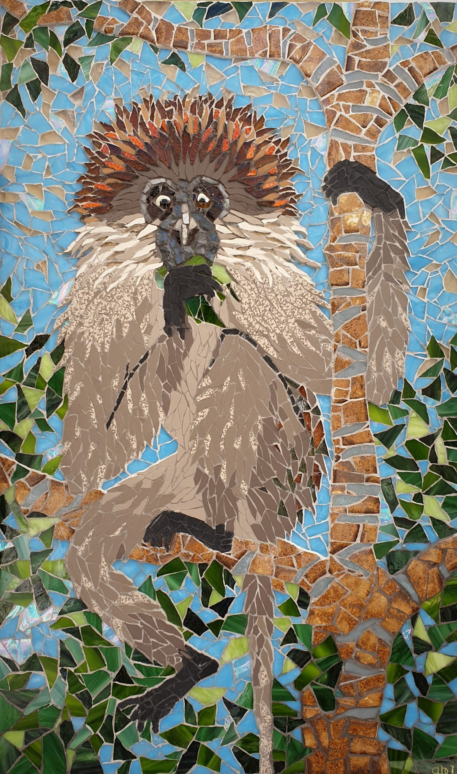 Tana River Red Colobus – mosaic in smalti, ceramic and glass by Emma Abel, 67x40cm, £402 + p&p