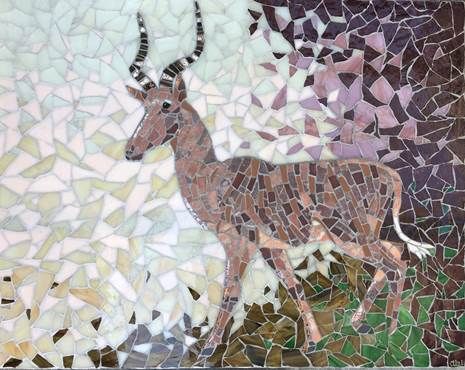 Hirola Antelope - mosaic in stained glass, marble, ceramic- by Emma Abel, 55x43cm, £473