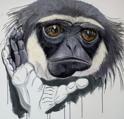 Javan Gibbon By Nicky Heard - Merino Wool and Ink on Canvas. 100x120cm £595