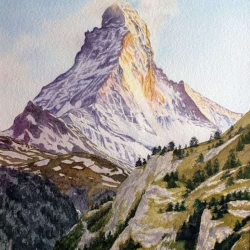 Sunset on the Matterhorn by Caroline Strong - Watercolour on Watercolour coldpress paper - 22x29in - £500