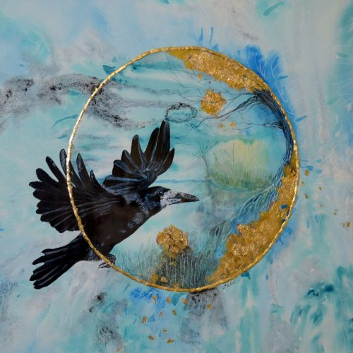 'The Flight of the Rook' By Julie Weir - Acrylic ink & watercolour - £250 - 23